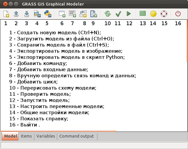Главное окно расширения GRASS wxGUI Modeler