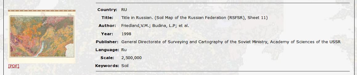 EuDASM, почвенная карта России