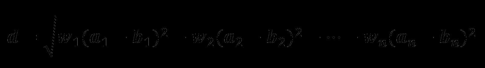 Расстояние в n-мерном евклидовом пространстве с весами