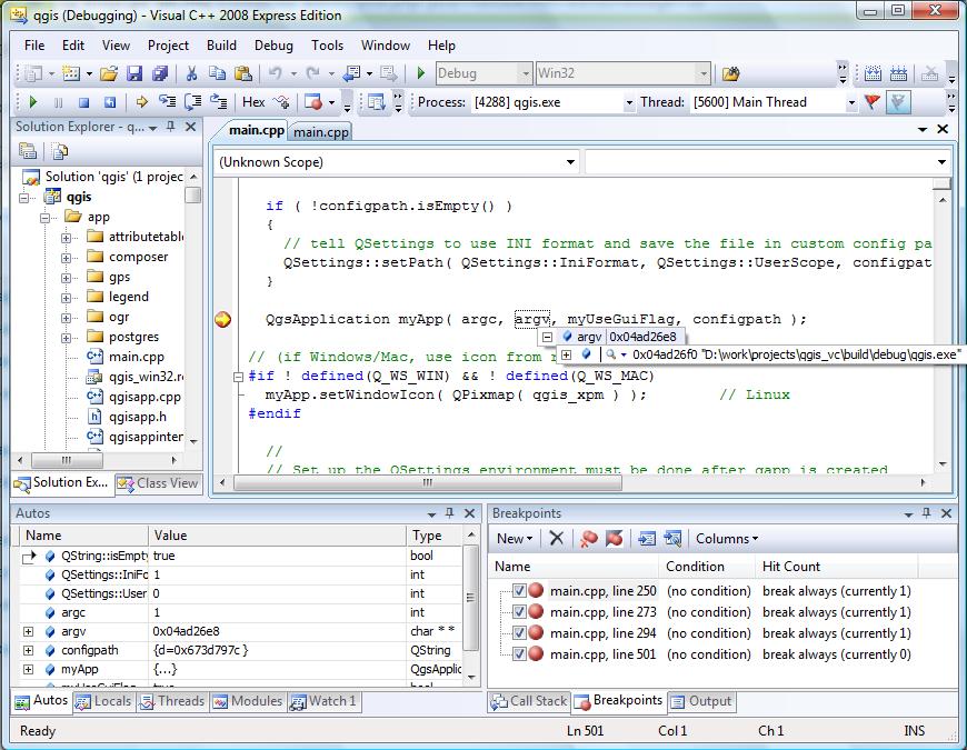 Отладка QGIS в MS VSE