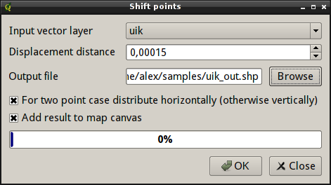 Displacement of points with same coordinates, ShiftPoints/OGR — GIS-Lab