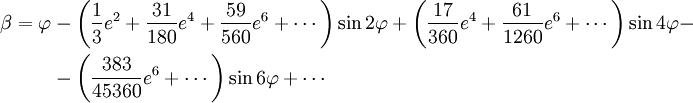 \begin{align} \beta = \varphi & - \left( \frac{1}{3} e^2 + \frac{31}{180} e^4 + \frac{59}{560} e^6 + \cdots \right) \sin 2 \varphi + \left( \frac{17}{360} e^4 + \frac{61}{1260} e^6 + \cdots \right) \sin 4 \varphi - \\  & - \left( \frac{383}{45360} e^6 + \cdots \right) \sin 6 \varphi + \cdots \end{align}