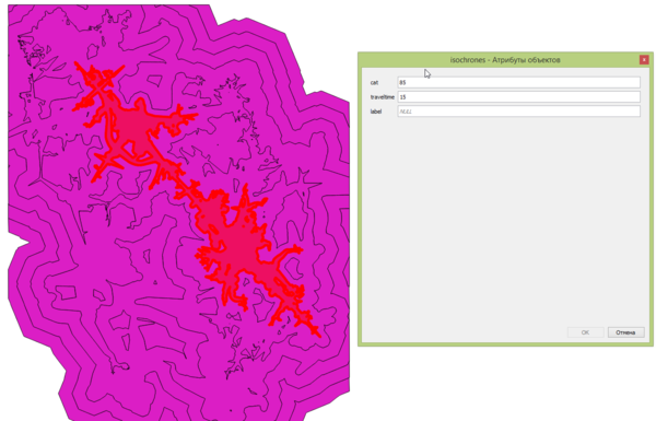 Grass qgis isochrones rcost result2.png